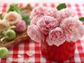 リンゴとバラの花
