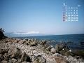 初島の海辺(7月カレンダー)