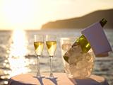 夕日とシャンパン